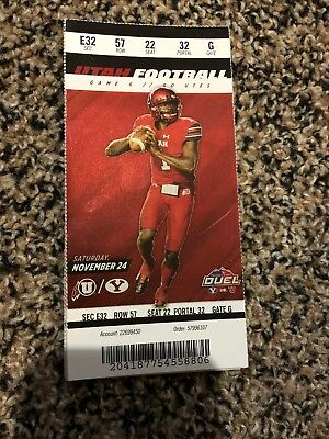 2018 Utah Utes Vs Byu Cougars College Football Ticket Stub 9/29