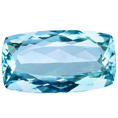 5.23Ct IF Cushion Cut 16 x 9 mm 100% Natural AAA Aqua Blue Color Aquamarine