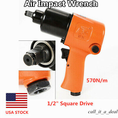 """Air Impact Wrench 1/2"""" Square Drive Twin Hammer 850FT/LB Short Shank Lightweight"""