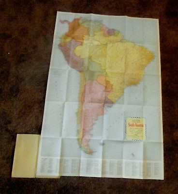 Vintage Colorful 33x27 South America, Rand McNally Map Cost $1