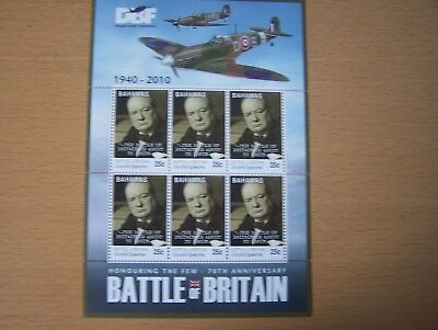 Bahamas,2010.battle Of Britain,churchill,25C,sheetlet Of 6 Vals,u/m,cat£4.50.
