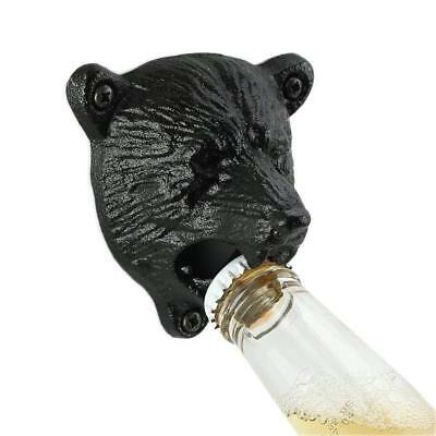 Wall Mount Hung Beer Soda Bottle Opener Bar Kitchen Cap Remover Antique Bear New