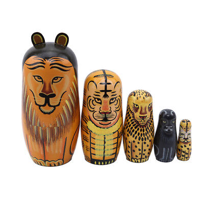Russian Nesting Dolls Toy Wooden Doll Animals Lion  Matryoshka Hand Painted Z