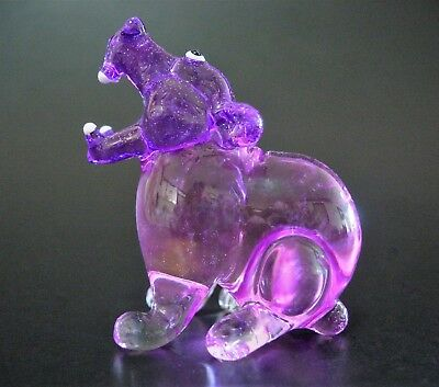 Glass HIPPOPOTAMUS Water HIPPO Pinky Purple Glass Ornament Tinted Glass Animal