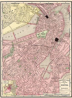 1901 Antique BOSTON Map Vintage Map of Boston Massachusetts City Map #6018