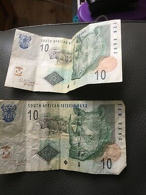 2 X South African Reserve Bank 10 Rand Banknote.