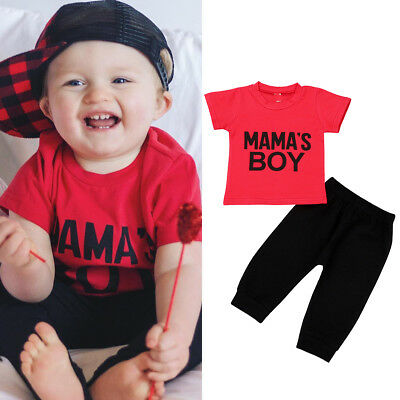 Toddler Kids Baby Boy MAMA'S BOY Outfit Clothes T-shirt Tops+Long Pants 2PCS Set