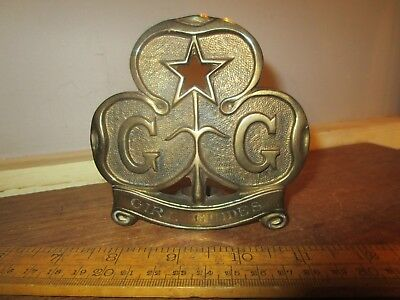 Antique /Vintage solid Brass Girl Guides Flag pole top / topper Rd.no.671782  (2