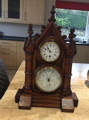 Magnificent GOTHIC Victorian Desk Oak Clock and Barometer