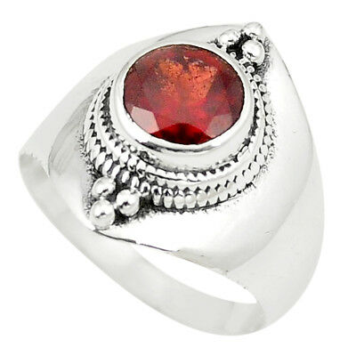 Natural Red Garnet 925 Sterling Silver Ring Jewelry Size 6.5 M33315