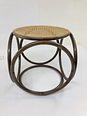 Vintage BENTWOOD FOOT STOOL thonet cane wood ottoman mid century modern caned