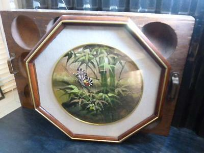 """11"""" Octagon Framed & Matted Butterfly on Bamboo Garden Real Leaf Painting Signed"""