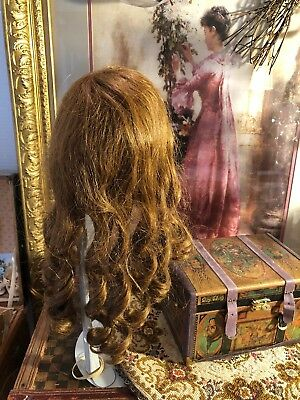 ~ Wonderful!!! Antique French Amber Color Sausage Curl Human Hair Doll Wig ~