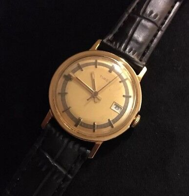 Timex Watch Vintage 1975 Mens Gold Tone Hand Wind Cleaned & Serviced