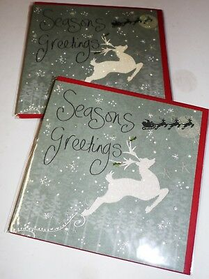 """CHRISTMAS CARDS by CLARE DAVIS X 12, JUST 25p SRP £1.79, 6"""" SQ, WRAPPED, (B464"""