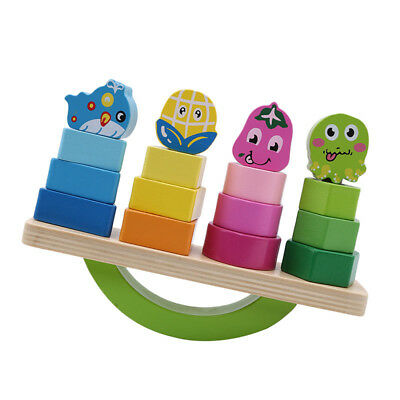 Wooden Cartoon Fruit Building Blocks Balance Game Early Educational Baby Toy LD