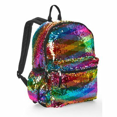 NWT Rainbow 2 Way Sequin Backpack - Kids Girl Women Shoulder Bag Colorful Silver