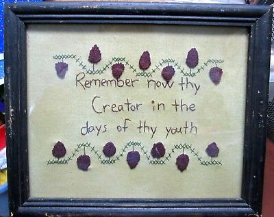 """Vintage Embroidery CROSS-STITCH SAMPLER FRAMED """"REMEMBER NOW THY CREATOR"""" 9x11"""