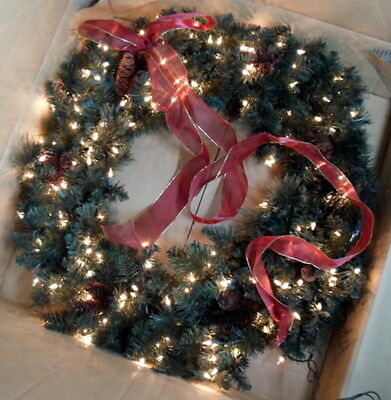 """FRONTGATE 30"""" Classic INDOOR WREATH w/ CLEAR LIGHTS & PINE CONES Beautiful! NIB"""