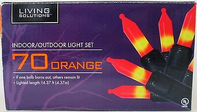 70 Count ORANGE HALLOWEEN LIGHTS for INDOOR or OUTDOOR Black Cord CANDY CORN!