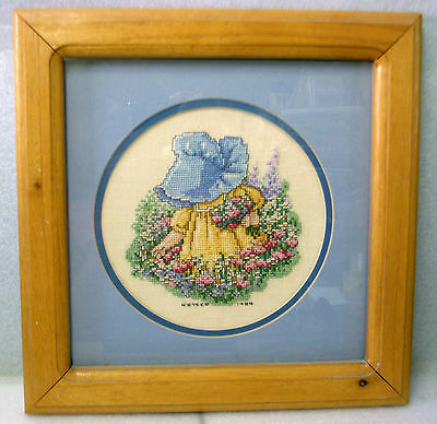 GIRL in BLUE BONNET PICKING FLOWERS! Completed Framed Cross Stitch ROUND Matting