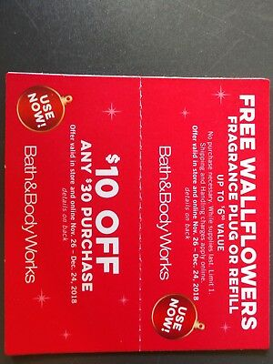 Bath and Body Works Coupons 10 off 30 Expires 12/24/2018
