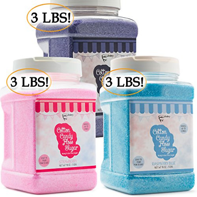 The Candery Cotton Candy Floss Sugar 3Pack (Strawberry Raspberry Blue and Grap