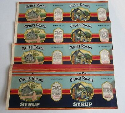 Wholesale Lot of 25 Old Vintage 1920's CROSS ROADS Syrup LABELS - Cairo GEORGIA