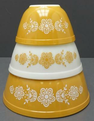 Vintage Pyrex Butterfly Gold 3 Pc Nesting Mixing Bowl Set  401 402 403
