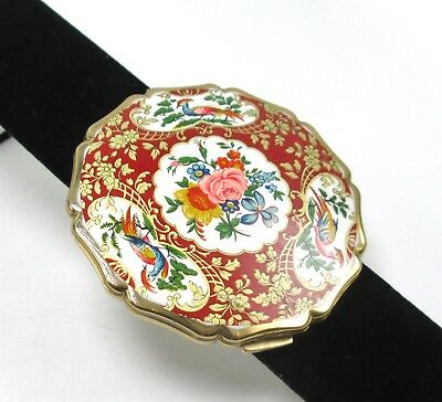 Stratton Made In England Floral Enamel Bird Make Up Compact w/Mirror KLH3465