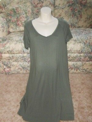 New A Glow Maternity Dress Size Large Olive Green Casual Knit