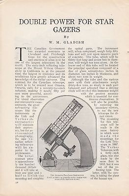1914 Article: Ottawa Canada New Telescope Double Power for Star Gazers