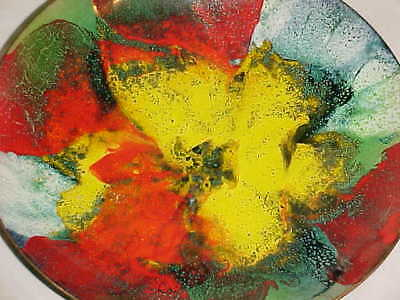 Lilyan Bachrach Modern Enamel Copper Bowl Abstract Impressionist Flower Painting