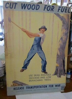 WWII Poster Cut Wood for Fuel Release Transportation for War 1942