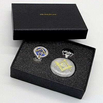 Masonic Gift Set Free Mason Silver & Gold Pocket Watch & Pendant Boxed Set Mason
