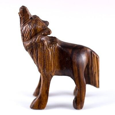 "Hand Carved Wood Wooden Ironwood Small Standing Wolf Howling Figurine 1.75 - 2""H"