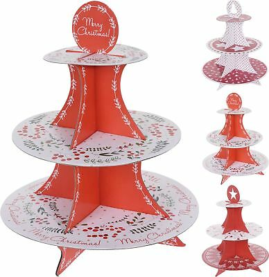 Self-Assembly 3 Tier Christmas Design Cardboard Cupcake  Cake Stand - Varies