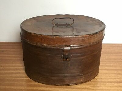 Antique large Oval Tin Metal Box-Peddlers Hat Box- Art Table display Box