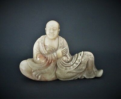 Antique 18th Century  Chinese Carved Stone Lohan Statue Figurine