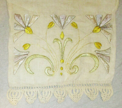 Arts & Crafts Mission Style Classic Linen Runner Hand Embroidered & Crochet