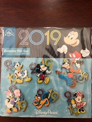 Disney World 2019 Mickey Minnie Goofy Donald Daisy Pluto Booster 5 Pin Set