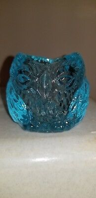 """Vintage Owl Figurine / Vase  - app. 2 1/4"""" tall -  Made from blue glass"""