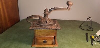 Antique Large And Very Ornate -  Wood & Cast Iron Coffee Mill
