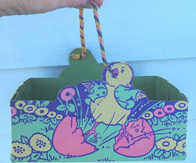 Antique Vintage Cardboard Easter Egg BASKET w CHICKS & Rope Handle Made in U S A