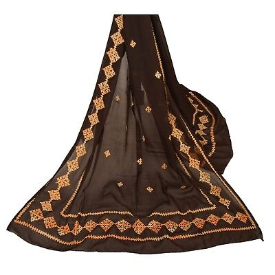Tcw  Vintage Dupatta Long Stole Pure Chiffon Silk Brown Hand Embroidered