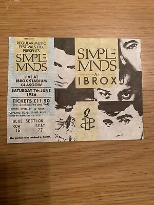 Simple Minds Photo Ibrox Stadium Glasgow 1986 And Ticket