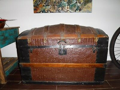 Large antique wood chest trunk