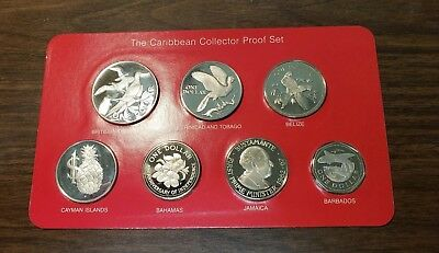 1983 Caribbean Collectors 7 Different Countries Silver Proof Set With C.O.A.