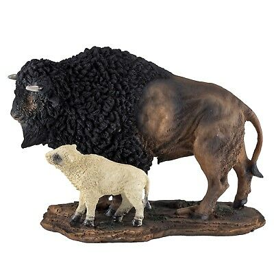"""Bison Buffalo With White Baby Calf Figurine Statue 8.25"""" Long Resin New In Box!"""