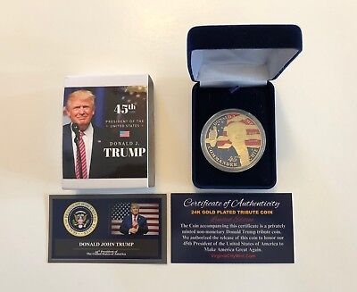 DONALD TRUMP...2016 OFFICIAL Presidential 24K Gold Plated Tribute Coin with COA